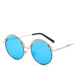 Wholesale Unique Black Sunglasses - Metal Frame Unique Sunglasses Women Round Vintage retro ombre lens 2017 summer Color Film Fashion Glasses