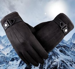Wholesale Mens Black Leather Gloves - Better warm winter mens gloves ,Faux suede Leather,Black leather gloves,male leather gloves,winter gloves men, #402