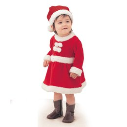 Wholesale Mini Santa Hats - Christmas Santa Dress and Hat Boat Neck Long Sleeve Knee-Length Mini Cotton Red with White For Baby Girls'