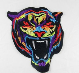 Wholesale Tiger Design Clothes - Iron On Patches DIY Embroidered Patch sticker For Clothing clothes Fabric Badges Sewing colorful tiger design