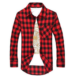 Wholesale Cheap Long Sleeves Shirt - Wholesale- Casual Plaid Shirt Men Long Sleeve Social Checkered Dress Shirts Slim Fit Red Cheap Male Clothing Camisetas Xadrez Masculina