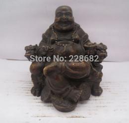 Wholesale Chinese Figurines Statues - Chinese old copper bronze carved Maitreya Buddha Figurine  Buddha Statue