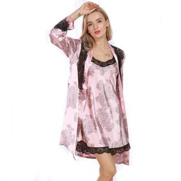Wholesale Set Bathrobe Women - Wholesale- Women Sexy Robe Sets Femme 2017 Spring Summer Satin Silk Nightdress Lace Night Bathrobes Dressing Gown Free Size WP325
