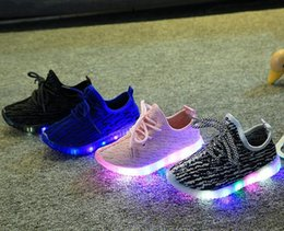 Wholesale Boys Bowtie Black - New Fashion Child Spring Casual Shoes Flash LED Light Up Sneakers Cocount Luminous Glowing Boots Toddlers Boys Girls Sport Shoes