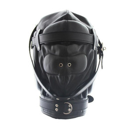 Wholesale Kinky Masks Sex - Kinky Fetish Sex Bondage Lockable Discipline Hood Soft Padded Leather Sensory Deprivation Mask with Snap On Dildo and Blindfold
