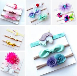 Wholesale Rainbow Headbands Wholesale - 2017 new INS baby unicorn rainbow bowknot headband hair bow 5PCS SET kids girls cute rainbow unicorn flower bow Christmas hair bands gift