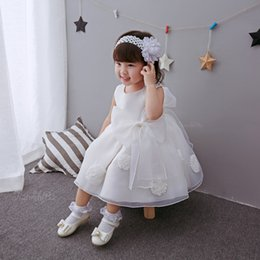 Wholesale Girl S Pageant Dresses - First Communion Dresses For Girls Scoop With Appliques and Bow Organza Ball Gown Pageant Dresses For Little Girls