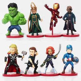 Wholesale Loki Figure - 8pcs set Avengers 2 Age of Ultron PVC Figure Toys Thor Hulk Iron Man Captain America Black Widow Hawkeye Loki Figures