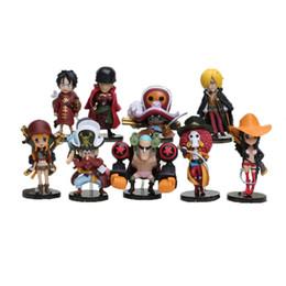 Wholesale One Piece Anime Film Z - 9pcs set 3.5-7cm Anime One Piece Film Z Usopp Tony Chopper Sanji Nico Franky Brook PVC Action Figure Toys