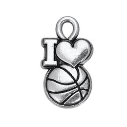 Wholesale New Fashion Gold Plated Tone - Hot New Fashion Basketball & hoop Love Charms Zinc Alloy Rhodium Toned Jewelry Accessory