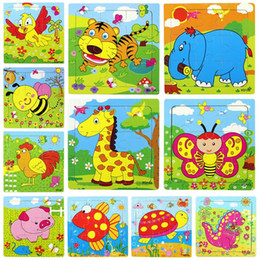Wholesale Kid Toy Animal Jigsaw - New Kids Child Baby Jigsaw Puzzle Blocks Bricks Educational Toys Gifts Wooden Animals Multi Color 15*15CM