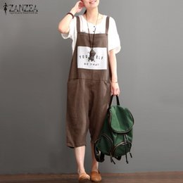Wholesale womens overall long pants - Wholesale- Rompers Womens Jumpsuits 2016 ZANZEA Vintage Sleeveless Letter Print Pockets Long Harem Pants Casual Loose Overalls Plus Size