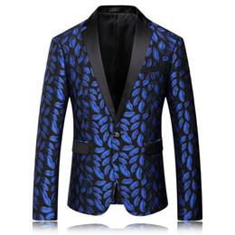 Wholesale Business Men Suit Xxl - Wholesale- 2016 new arrival high quality cotton printed blue casual suit Business suit jackets men plus-size S,M,L,XL,XXL,XXXL,XXXXL