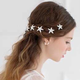 438909cf1 silver hair pins sticks 2019 - Women U Shaped Hairpin Sea Star Hair Clip  Crystal Hair