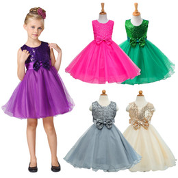 Wholesale Toddler Tutu Dress Sequins - Girls Party Wear Dress Kids 2016 New Sequins Children Wedding Birthday Dresses For Girls Kids Clothing Toddler Girl Clothes free shipping