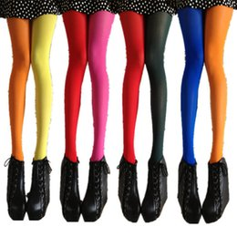 Wholesale Girls Opaque Tights - Wholesale- 1 Pair NEW Beauty 10 Colors Opaque Footed Tights Sexy Pantyhose Leg Warmers for Women Lady Girl