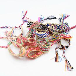Wholesale Bracelets Cotton - 20PCS Mixed Friendship Bracelet Handmade Charm Woven Rope String Hippy Boho Embroidery Cotton Friendship Bracelets For Men Women Hot Selling