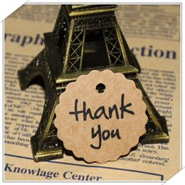 Wholesale Vintage Wedding Favor Tags - Wholesale- 100pcs Kraft Paper Thank You Tag Paper Gift Tag Label Marks Decorations Fashion DIY Accessories vintage wedding decoration favor