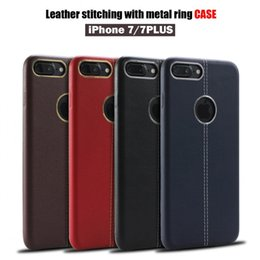 Wholesale For Red iphone plus Leather soft case leather stitching with metal ring case TPU Cell phone Cases