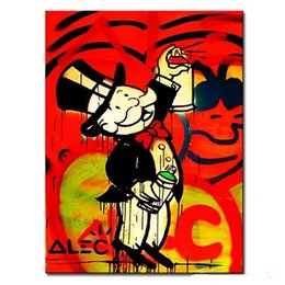 Wholesale Modern Painters Paintings - Framed painter Alec monopoly wall street art,High Quality Handpainted Modern Graffiti Pop Wall Art Oil Painting on Canvas Multi sizes 125