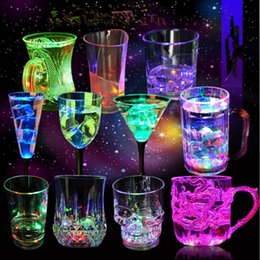 Wholesale Glass Cup Lighting - LED Flashing Glowing Water Liquid Activated Light-up Wine Glass Cup Party Bar Led Luminous wine cup KKA1770