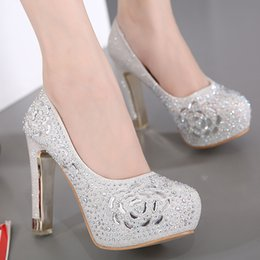 Wholesale Shoes Woman Pumps - 2017 Luxury black silver crystal rhinestone wedding shoes platform high heels pumps women size 34 to 39