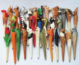 Wholesale Wholesale Wood Art - Creative Gifts Wood Carving Animal Owl Panda Cat MinionsCartoon Cute Gel pen Ballpoint Pen Stationery Fresh Pen