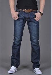 Wholesale Mens Denim Trouser 34 - Blue Mens Denim Thin Jeans Leisure Brand Cotton Standard Straight Pants Zipper Trousers Designer Men Motorcycle Biker Denim Jeans J161143