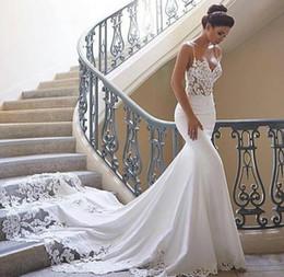 sereia vestido de casamento marfim rápido Desconto 2019 Elegante Sexy Sereia Vestidos De Casamento Vestidos De Noiva Cintas De Espaguete Longo Trem De Cetim Vestidos De Noiva A Partir De China