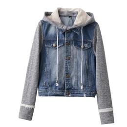 Wholesale Denim Hoodie Women - Wholesale- Autumn Women Blue Denim Hoodie Jackets Patchwork Pockets Long Sleeve Coats Casual Short Jackets Plus Size QQLP311