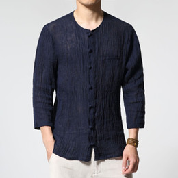 Wholesale Long Sleeve V Neck Transparent - Wholesale- 2017 new spring summer solid color restor mens shirt china style linen men's thin transparent shirts male loose casual shirt C05