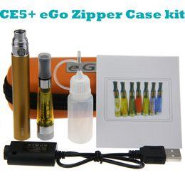 Wholesale Ego T Wickless Atomizer - eGo CE5+ Starter single kit eGo Zipper case electronic cigarette kit CE5 plus wickless atomizer clearomizer eGo-T battery