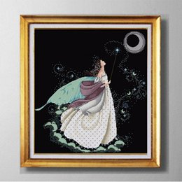 Wholesale Needlework Cross Stitch - Full moon full stitch fairy, DIY Western handmade Cross Stitch Needlework Sets, embroider Counted Print on canvas DMC 11CT  14CT