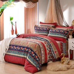 Wholesale Bedding Sets For King Size - Wholesale-ROMORUS 100% Cotton Bohemia Stripe Bedding Set for Autumn and Winter Twin Queen King Size Bed Linen Bedclothes Duvet Cover Sets