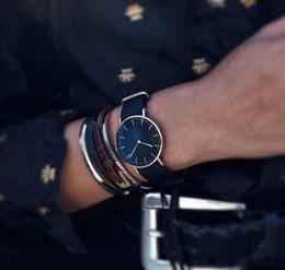 Wholesale Dress Dhl - 2017 Brand 11 colors Classic Black watch Luxury Watch For Men Women Nylon Strap Military Quartz Wristwatch (Replica D&W Watches) DHL free