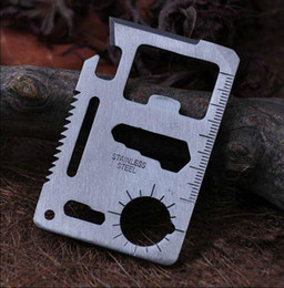 Wholesale Credit Card Knives - Credit Card Survival Knife 11 in 1 Hunting Survival Camping Pocket Military Knife Outdoor Camping Tool OOA2169