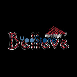 Wholesale Christmas Iron Transfers - Christmas Word Believe Rhinestone Transfer Iron On Hot Fix Applique For Women T Shirts