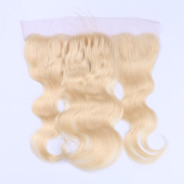 Wholesale Wavy Hair Part - #613 lace frontal Body Wavy 13*4'' Ear to ear blonde lace frontal with baby hair bleached knots
