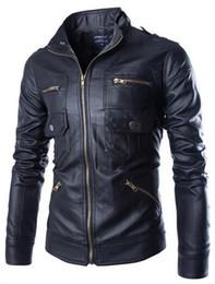 Wholesale Korea Men Pu Jacket - New arrive Korea men's jacket Multi zipper motorcycle pu leather jacket stand collar men's coats