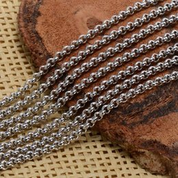 Wholesale Marked Beads - wholesale in bulk 10meter Lot Fashion Silver TOne Stainless steel Jewelry Finding Round Rolo Chain marking 2.5mm 3mm 4mm strong