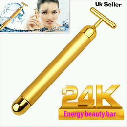 Wholesale Face Lift Gold - Beauty 24K Gold Energy Vibration Bar Facial Firming Roller Massager Anti-aging