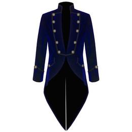 Wholesale Tuxedo Coats Tails - Velvet Bule Swallow Tailed Coat Custom Made Fashion Men Suits Formal Party Prom Blazer Latest Coat Pant 2017 Hot SaleJacket+Pant