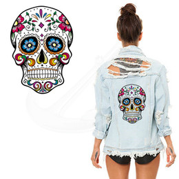 Wholesale Iron T - Hot Flower skull 26*19CM patches for clothing A-level Washable Stickers T-shirt Dresses Sweater iron on patches