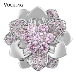 Wholesale Luxury Charms - NOOSA Snap Charms Luxury Floral CZ Stone Jewelry Copper Material 18mm 4 Colors Vn-1694
