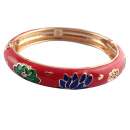 Wholesale Unique Gifts Valentines Day - Cloisonne Bracelet Elegant lotus flower Bangles unique Accessories Fashion love Jewelry many Colour Valentines Day Gifts for women Z035