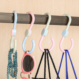Wholesale Color Plastic Coat Hangers - 3PCS OPP Multi-function Three-color rotary hook card position hooks for hanging key clothes coat bag hanger