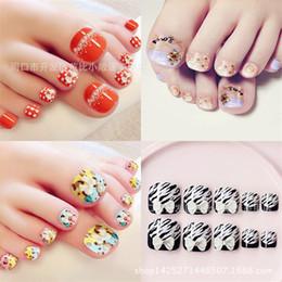 Wholesale Fake Nails Toes - Wholesale- Summer toenails finished manicure Kawaii foot patch nails to 24pcs  box Fake nails T018
