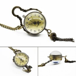 Wholesale Bulls Balls - Wholesale- Antique Vintage Glass Ball Bull Eye Necklace Pendant Chain Quartz Pocket Watch Men Women Gift