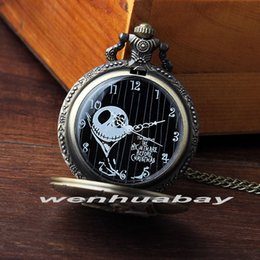 Wholesale Skull Top Dresses - Wholesale-New Arrival Top sales The Jacket Nightmare Before Christmas Skull Skeleton Pocket Watch Round Dial Halloween Watch Gifts P332