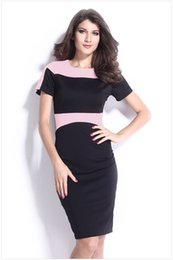 Wholesale Sexy Office Wear Womens - Womens Elegant Fashion Contrast Color Panelled Wear to Work Casual Office Formal Work Dresses Short Sleeve